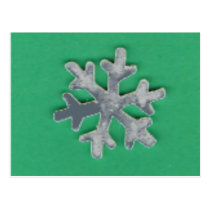 Choose Color Snowflake on Green Postcard