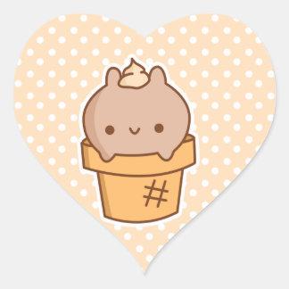 *CHOOSE de los pegatinas del conejito del helado Pegatina En Forma De Corazón