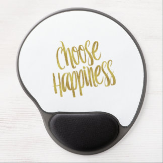 Choose Happiness Quote Faux Gold Foil Sparkly Gel Mouse Pad