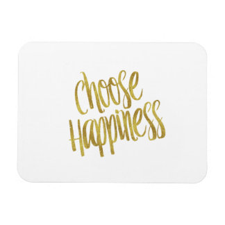 Choose Happiness Quote Faux Gold Foil Sparkly Magnet