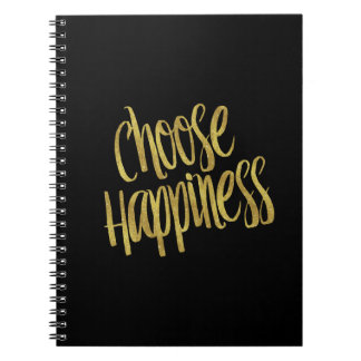 Choose Happiness Quote Faux Gold Foil Sparkly Notebook