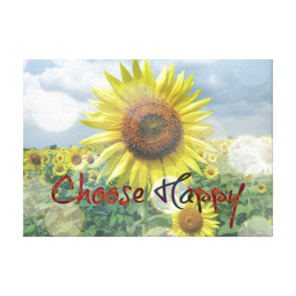 Choose Happy Quote with Sunflowers Canvas