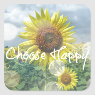 Choose Happy Quote with Sunflowers Square Sticker