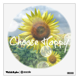 Choose Happy Quote with Sunflowers Room Decal