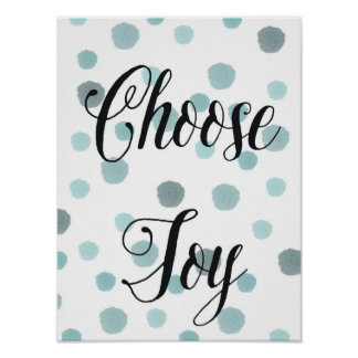 Choose Joy Blue Watercolor Dots Poster