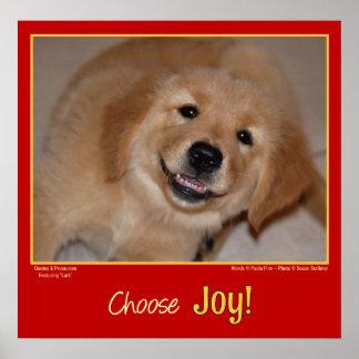 Choose Joy! Smiling golden retriever puppy Poster