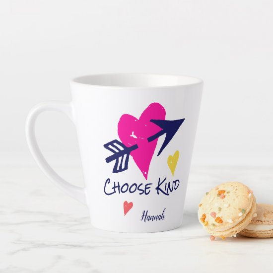 Choose Kind Colorful Hearts Whimsical Modern Cute Latte Mug