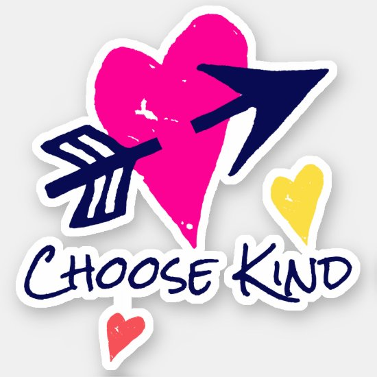 Choose Kind Colorful Hearts Whimsical Modern Cute Sticker