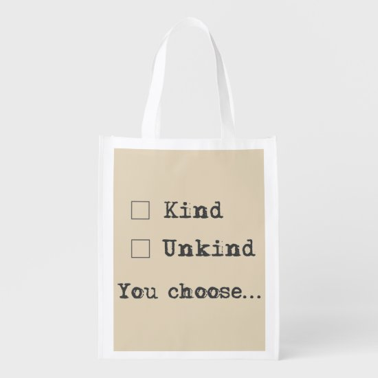 Choose Kindness Cool Typography Survey Question Reusable Grocery Bag