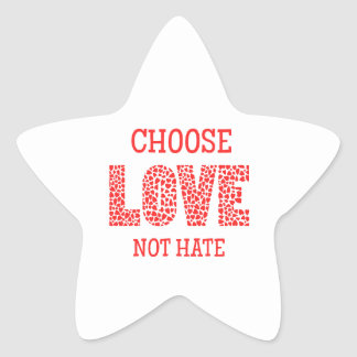 Choose LOVE Not Hate Star Stickers
