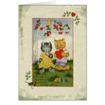 Choose My Heart Vintage Valentine Cats Greeting Card