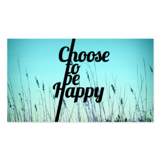 """""""Choose to be Happy"""" Typography in Teal Double-Sided Standard Business Cards (Pack Of 100)"""