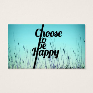 """""""Choose to be Happy"""" Typography in Teal Business Card"""