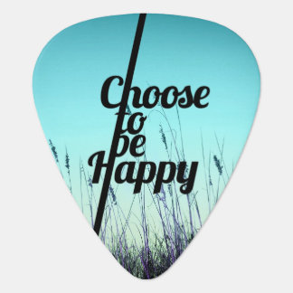 """""""Choose to be Happy"""" Typography in Teal Guitar Pick"""