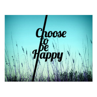 """Choose to be Happy"" Typography in Teal Postcard"