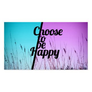 """""""Choose to be Happy"""" Typography in Teal & Purple Double-Sided Standard Business Cards (Pack Of 100)"""