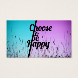 """""""Choose to be Happy"""" Typography in Teal & Purple Business Card"""