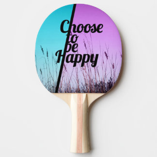 """""""Choose to be Happy"""" Typography in Teal & Purple Ping Pong Paddle"""