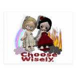 Choose Wisely Angel Devil Girls Postcard
