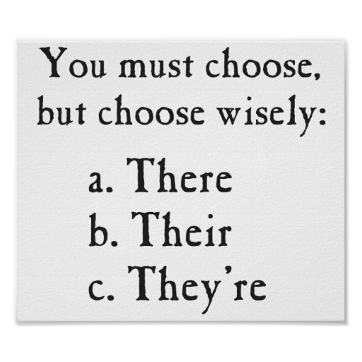 Choose Wisely There Their They're Grammar Poster