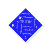 CHOOSE YOUR COLOR 16th Birthday Party Repeat Names Napkin