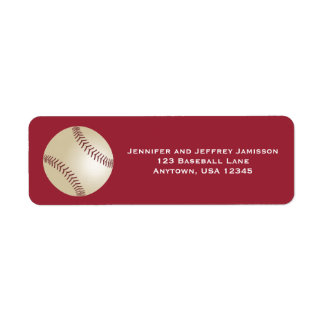 CHOOSE YOUR COLOR Baseball Return Address Labels