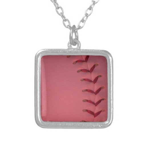 Choose Your Color Baseball - Softball Square Pendant Necklace