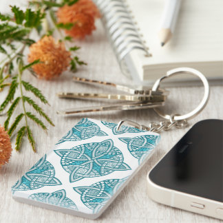 Choose Your Color Celtic Knot Decorative Pattern Double-Sided Rectangular Acrylic Keychain