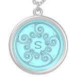Choose Your Color Charming Swirls Initial Necklace