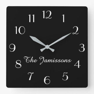 CHOOSE YOUR COLOR, Clock, Personalized Square Wall Clock