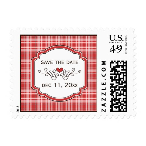 Choose Your Color Cozy Plaid Save the Date Postage
