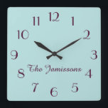 """CHOOSE YOUR COLOR, Robins Egg Blue, Personalized Square Wall Clock<br><div class=""""desc"""">Click &quot;Customize&quot; to CHOOSE YOUR OWN BACKGROUND COLOR to decorate this personalized clock. You can easily change the text and background color - or keep my colorful robins egg blue and deep purple design. What a wonderful gift for an engagement, wedding, bridal shower, or new home. All Rights Reserved &#169;...</div>"""