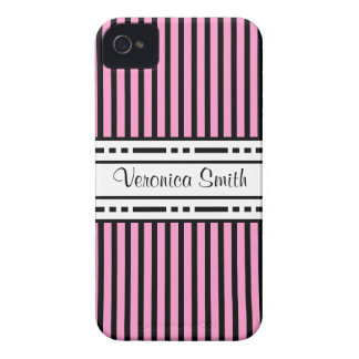 Choose Your Color Stripes Add Your Name iPhone 4 Cases