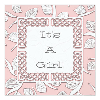 "Choose Your Color Woven Border Baby Announcement 5.25"" Square Invitation Card"