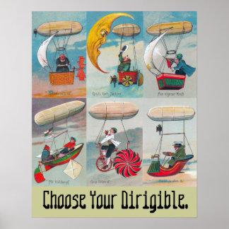 choose your dirigible wacky air ship poster