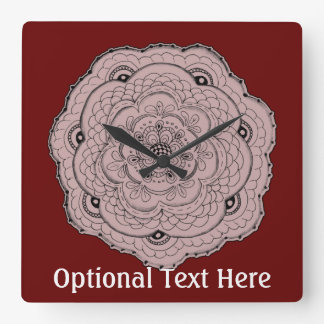 Choose Your Own Color Lace Doily Flower Square Wall Clock