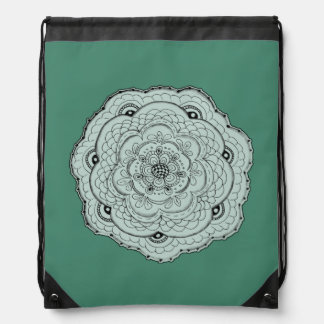 Choose Your Own Color Lacy Crochet Doily Flower Drawstring Bag