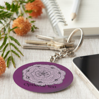 Choose Your Own Color Lacy Crochet Doily Flower Basic Round Button Keychain