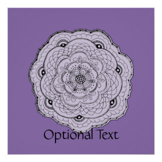Choose Your Own Color Lacy Crochet Doily Flower Poster
