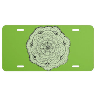 Choose Your Own Color Lacy Crochet Look Flower License Plate