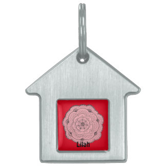 Choose Your Own Color Lacy Crochet Look Flower Pet ID Tag