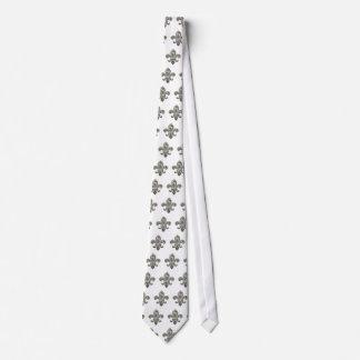 Choose your own color Tie w/Silver Fleur de Lis