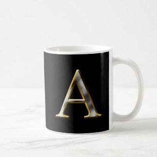 Choose Your Own Diamond Cut Metal Initial Coffee M Coffee Mug