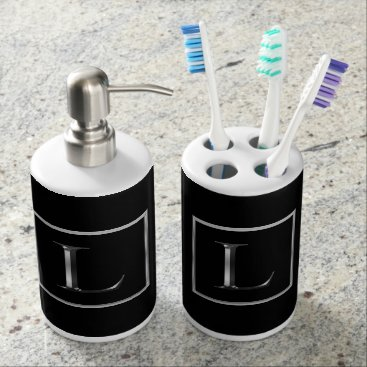 Professional Business Choose Your Own Shiny Silver Monogram Bath Set