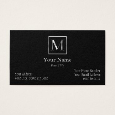 Professional Business Choose Your Own Shiny Silver Monogram Business Car Business Card