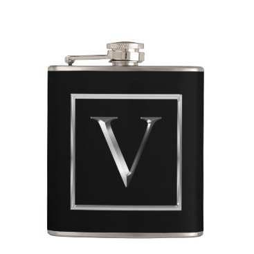 Professional Business Choose Your Own Shiny Silver Monogram Flask