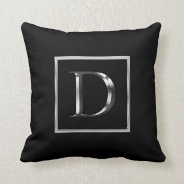 Professional Business Choose Your Own Shiny Silver Monogram Pillow