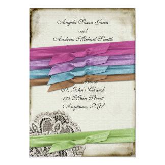 Choose Your Ribbon Vintage Lace Invitation