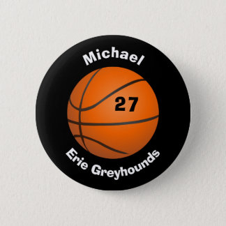 Choose your Team Color Personalized Basketball II Pinback Button