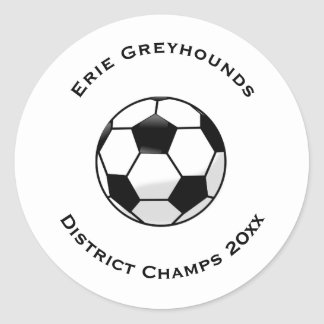 Choose your Team Color Personalized Soccer Ball Classic Round Sticker
